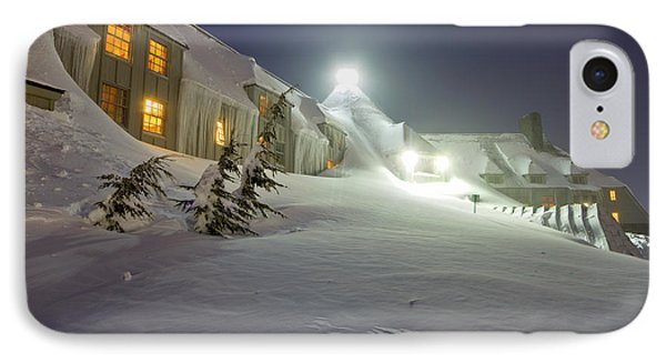 Timberline Lodge Mt Hood Snow Drifts At Night IPhone Case by Dustin K Ryan
