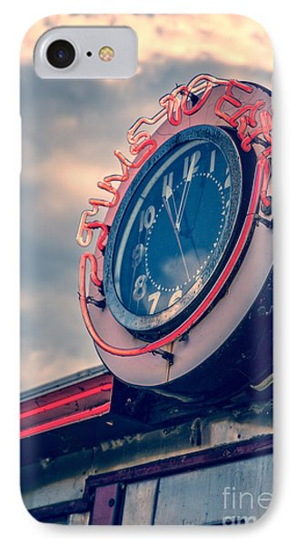 Time To Eat Neon Diner Clock IPhone Case by Edward Fielding
