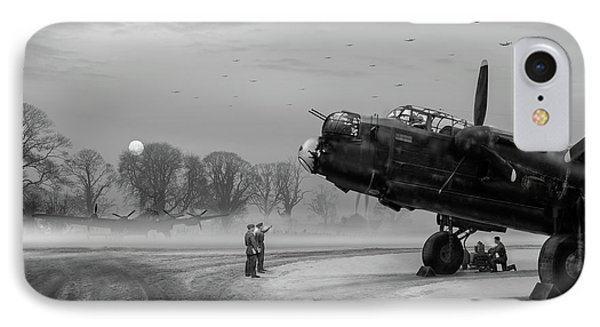 IPhone 7 Case featuring the photograph Time To Go - Lancasters On Dispersal Bw Version by Gary Eason