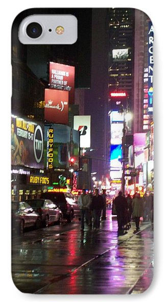 Times Square In The Rain 1 Phone Case by Anita Burgermeister