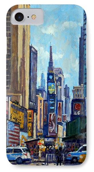 Times Square Morning New York City IPhone Case by Thor Wickstrom