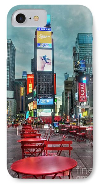 Times Square Tables IPhone Case by Timothy Lowry