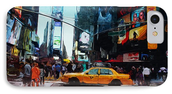 Times Square Taxi- Art By Linda Woods IPhone Case by Linda Woods
