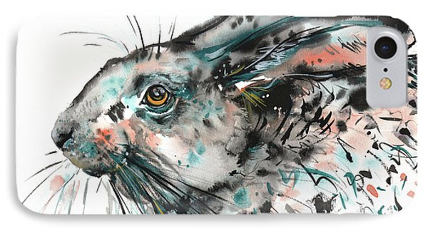 IPhone Case featuring the painting Timid Hare by Zaira Dzhaubaeva
