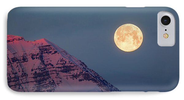 Timpanogos With The Pink Moon. IPhone Case