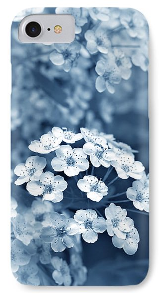 Tiny Spirea Flowers In Blue IPhone Case