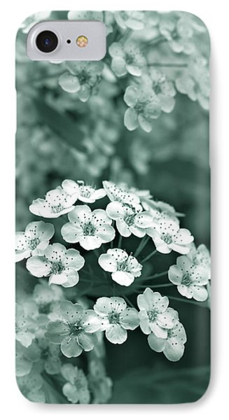 Tiny Spirea Flowers In Teal IPhone Case