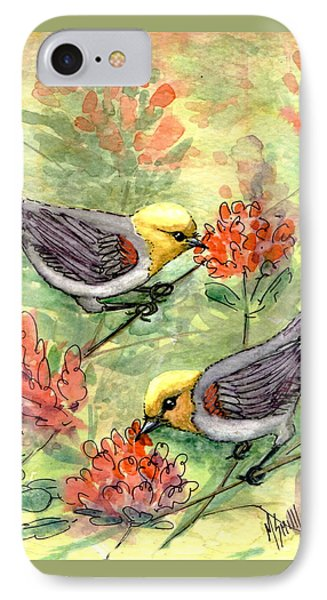 IPhone Case featuring the painting Tiny Verdin In Honeysuckle by Marilyn Smith