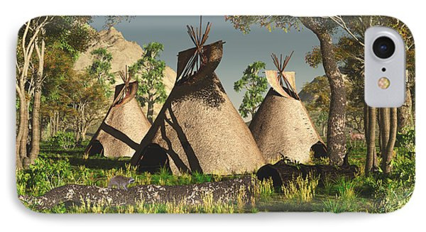 Tipis In The Trees IPhone Case by Walter Colvin