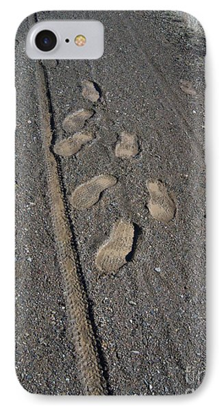 Tire Tracks And Foot Prints Phone Case by Heather Kirk