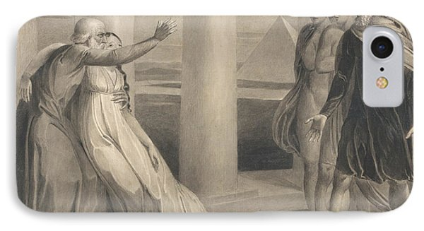 Tiriel Supporting The Dying Myratana And Cursing His Sons IPhone Case by William Blake