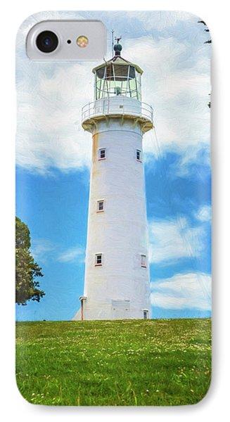 Tiritiri Matangi Lighthouse New Zealand Painterly II IPhone Case by Joan Carroll