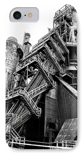 Titan Of Industry - Bethlehem Steel Mill In Black And White IPhone Case by Bill Cannon