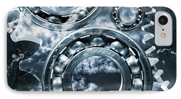 IPhone Case featuring the photograph Titanium Gears Against Storm Clouds by Christian Lagereek