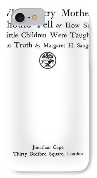 Title Page Of Margaret Sanger IPhone Case by Wellcome Images