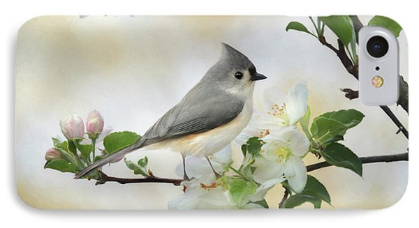 IPhone Case featuring the mixed media Titmouse In Blossoms 1 by Lori Deiter