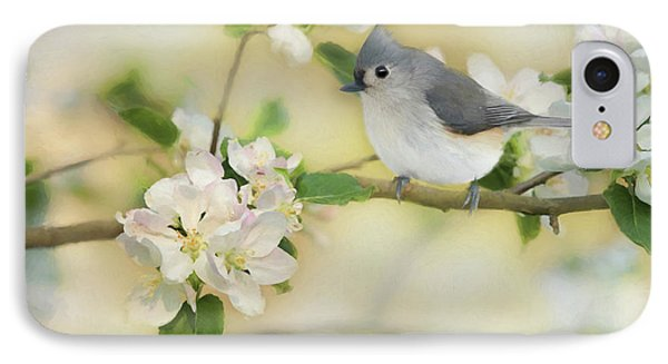 IPhone Case featuring the mixed media Titmouse In Blossoms 2 by Lori Deiter