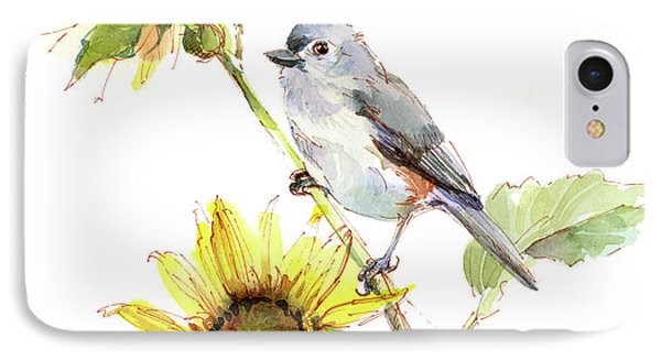 Titmouse iPhone 7 Case - Titmouse With Sunflower by John Keeling