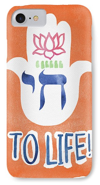 To Life Hamsa- Art By Linda Woods IPhone Case by Linda Woods