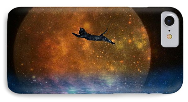 To The Moon And Back Cat IPhone Case by Kathy Barney