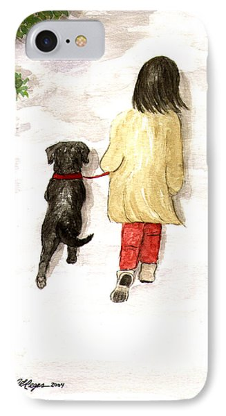 Together - Black Labrador And Woman Walking IPhone Case
