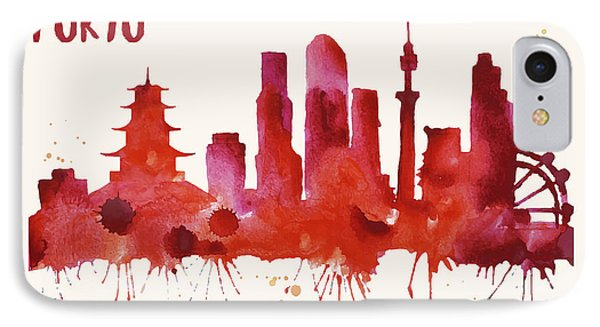 Tokyo Skyline Watercolor Poster - Cityscape Painting Artwork IPhone Case by Beautify My Walls