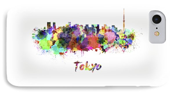Tokyo V2 Skyline In Watercolor IPhone 7 Case by Pablo Romero
