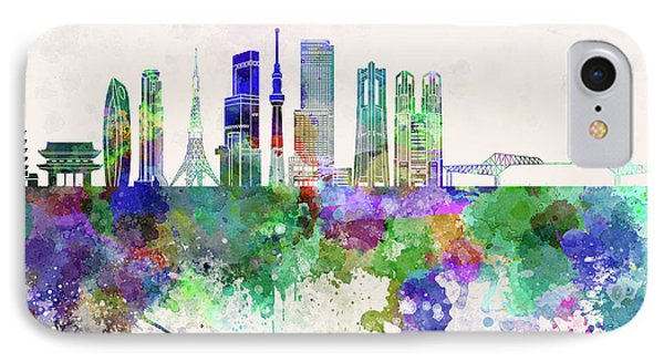 Tokyo V3 Skyline In Watercolor Background IPhone 7 Case by Pablo Romero