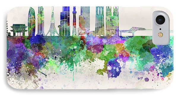 Tokyo V3 Skyline In Watercolor Background IPhone 7 Case