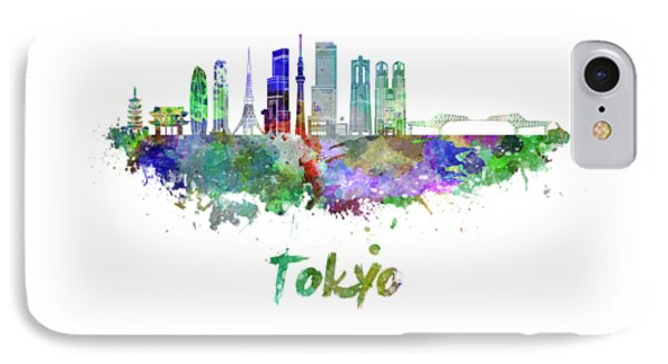 Tokyo V3 Skyline In Watercolor IPhone Case by Pablo Romero