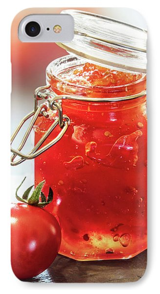 Tomato iPhone 7 Case - Tomato Jam In Glass Jar by Johan Swanepoel