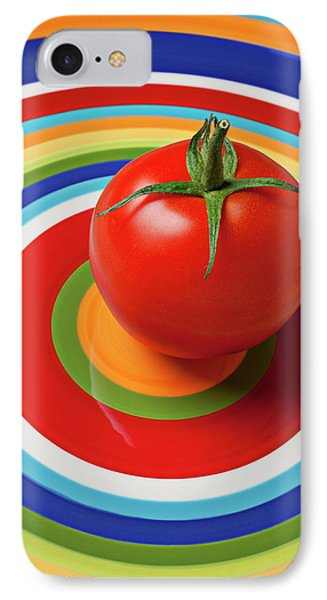 Tomato iPhone 7 Case - Tomato On Plate With Circles by Garry Gay