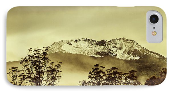Toned View Of A Snowy Mount Gell, Tasmania IPhone Case by Jorgo Photography - Wall Art Gallery