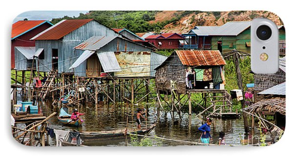 Tonle Sap Boat Village Cambodia IPhone Case by Chuck Kuhn