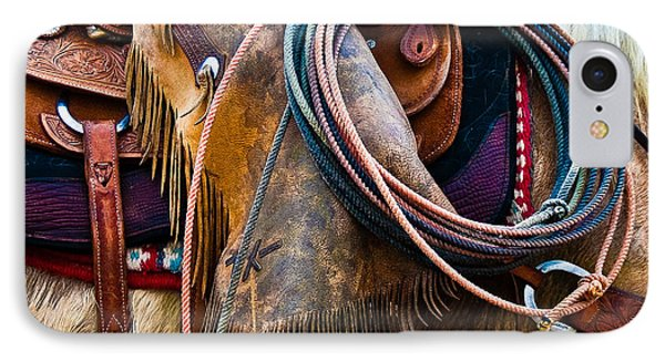 Tools Of The Trade - Cowboy Saddle Closeup - Casper Wyoming IPhone Case by Diane Mintle