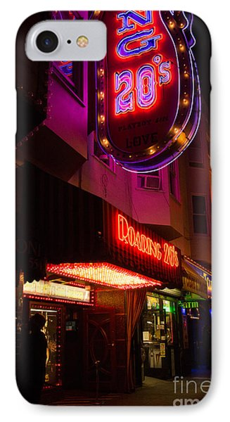 IPhone Case featuring the photograph Topless Bar Signs At Night In North Beach San Francisco by Jason Rosette