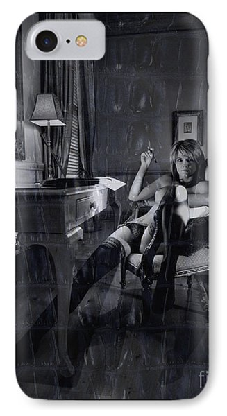 IPhone Case featuring the photograph Topless Girl Posing At Desk In Hotel Room by Michael Edwards
