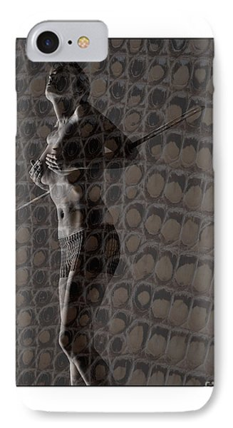 IPhone Case featuring the photograph Topless Girl With African Spear by Michael Edwards