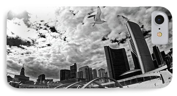 Toronto City Hall Square With Gull IPhone Case by Charline Xia