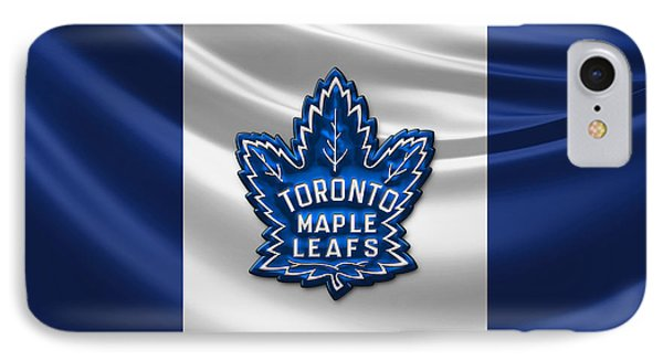 Toronto Maple Leafs - 3d Badge Over Flag IPhone Case by Serge Averbukh