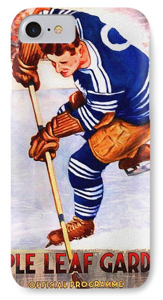 Toronto Maple Leafs Vintage Program Two IPhone Case by Big 88 Artworks