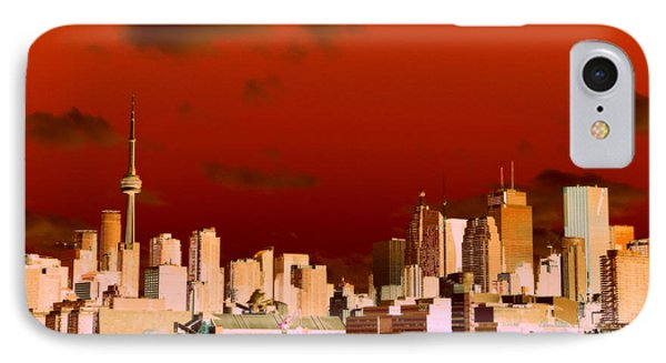IPhone Case featuring the photograph Toronto Red Skyline by Valentino Visentini