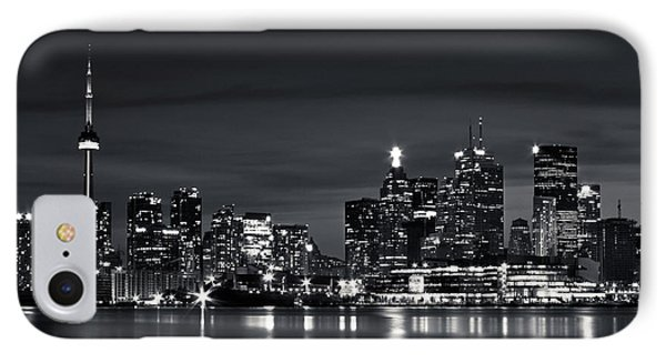 IPhone Case featuring the photograph Toronto Skyline At Night From Polson St No 2 Black And White Ver by Brian Carson