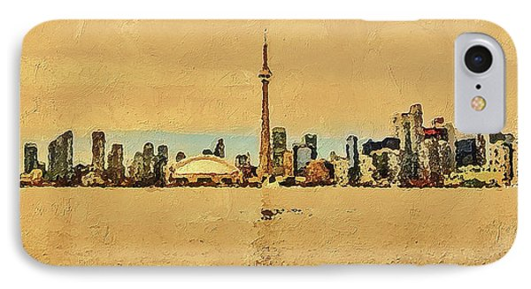 IPhone Case featuring the digital art Toronto Skyline Panorama by PixBreak Art