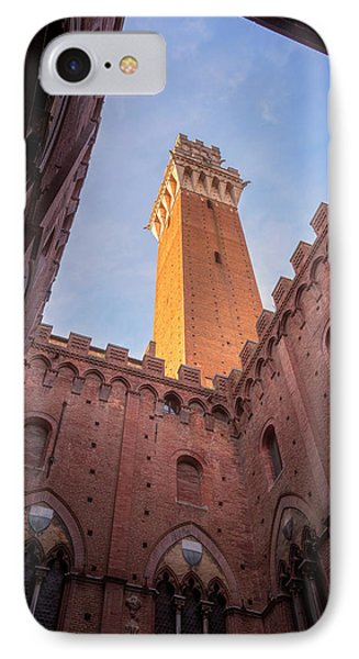 IPhone Case featuring the photograph Torre Del Mangia Siena Italy by Joan Carroll