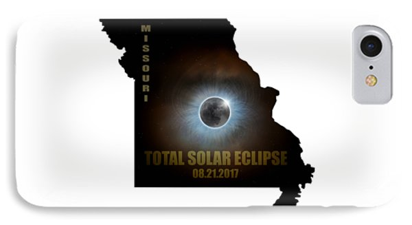 Total Solar Eclipse In Missouri Map Outline Phone Case by David Gn