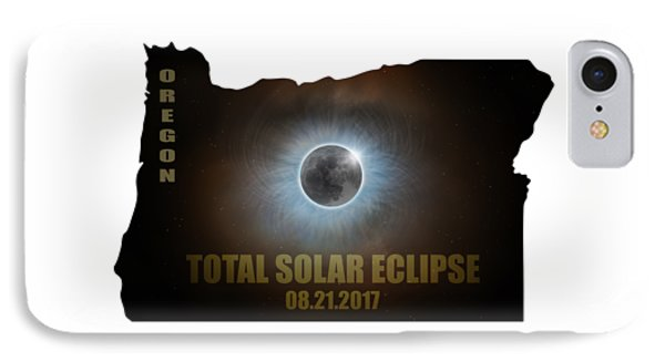 Total Solar Eclipse In Oregon Map Outline Phone Case by David Gn
