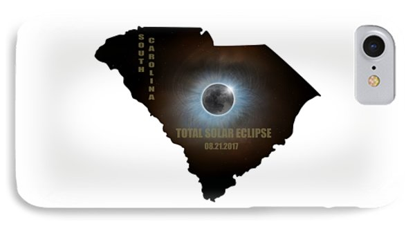 Total Solar Eclipse In South Carolina Map Outline Phone Case by David Gn