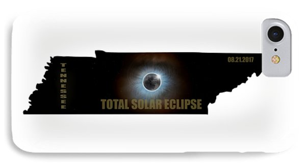 Total Solar Eclipse In Tennessee Map Outline Phone Case by David Gn