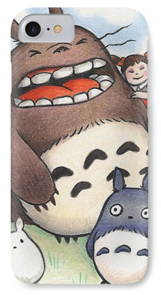 Totoro And Friends After Hayao Miyazaki Phone Case by Amy S Turner